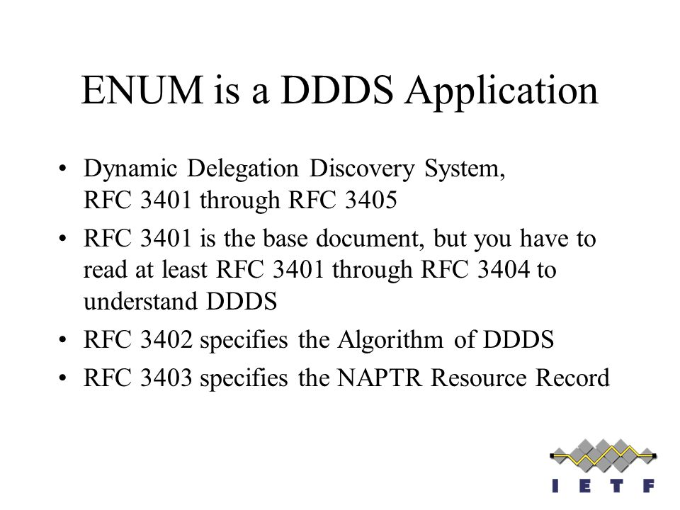 ENUM is a DDDS Application