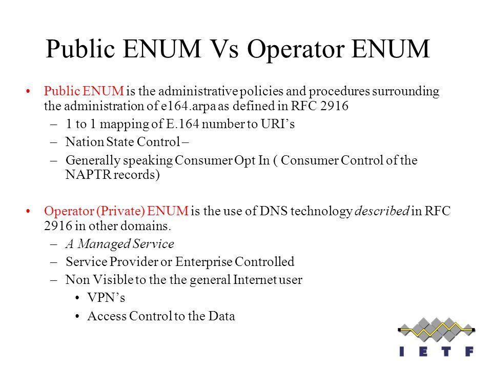 Public ENUM Vs Operator ENUM