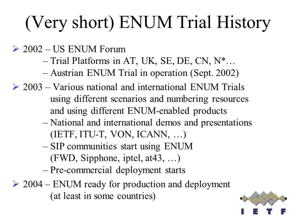 (Very short) ENUM Trial History