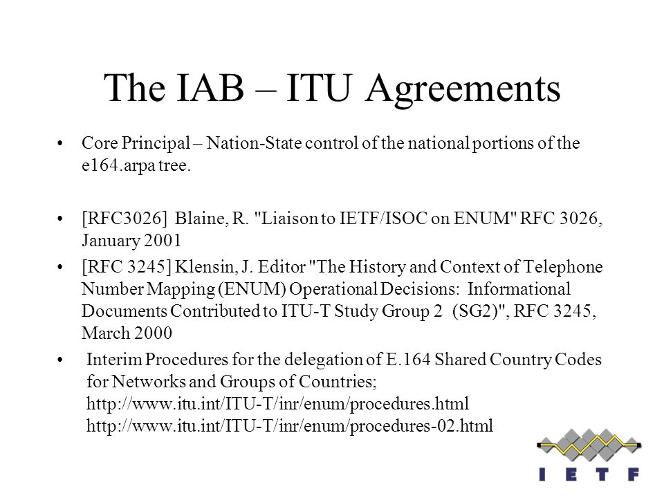 The IAB – ITU Agreements