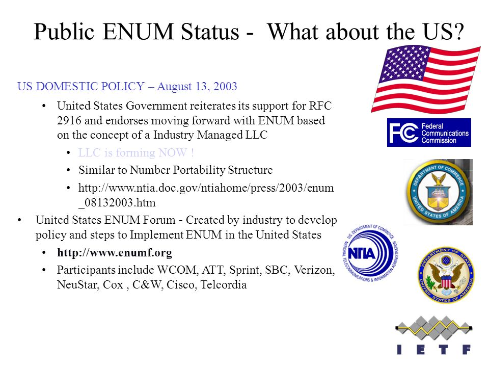 Public ENUM Status - What about the US