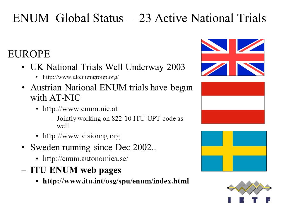 ENUM Global Status – 23 Active National Trials