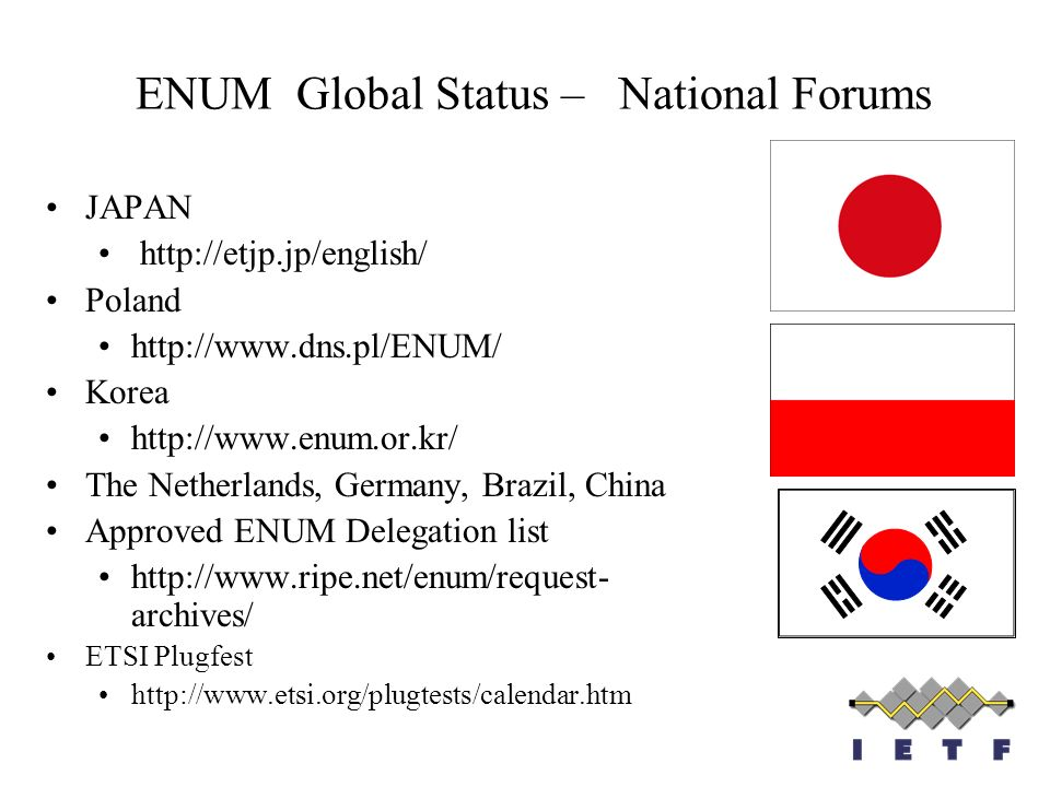 ENUM Global Status – National Forums