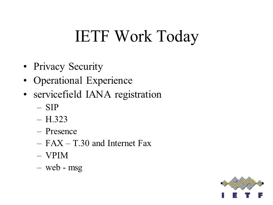 IETF Work Today Privacy Security Operational Experience