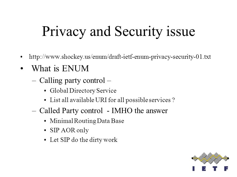 Privacy and Security issue