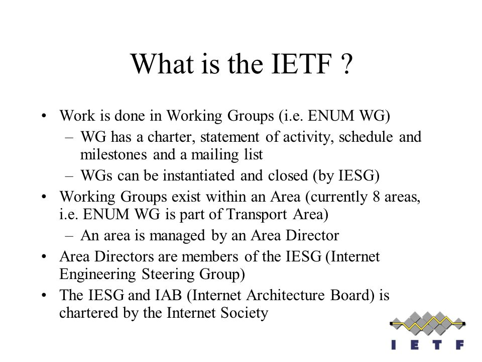What is the IETF Work is done in Working Groups (i.e. ENUM WG)