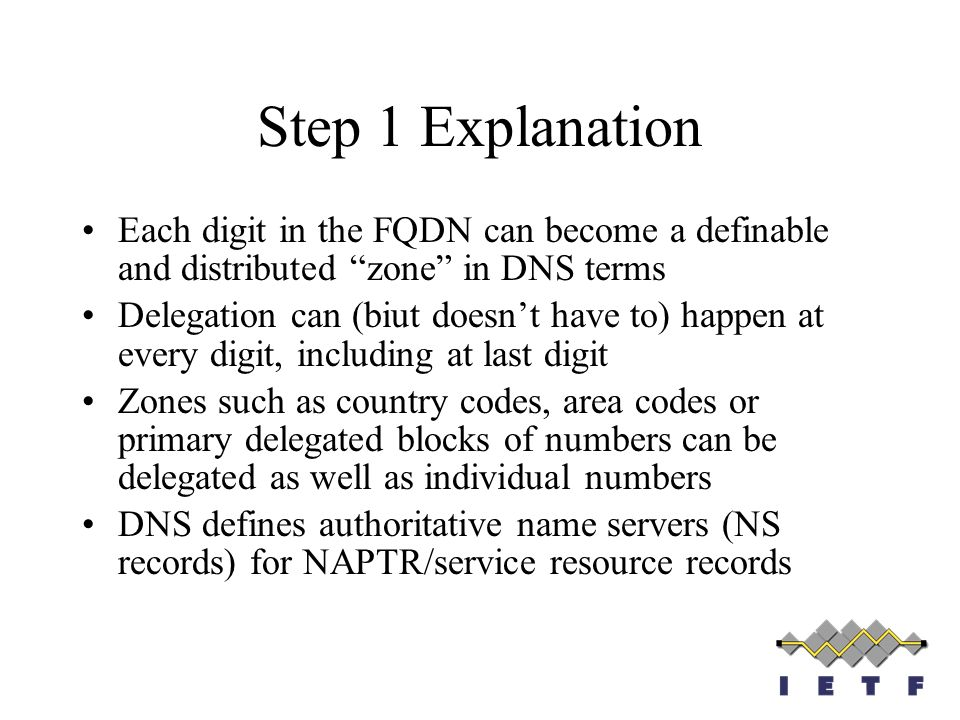 Step 1 ExplanationEach digit in the FQDN can become a definable and distributed zone in DNS terms.