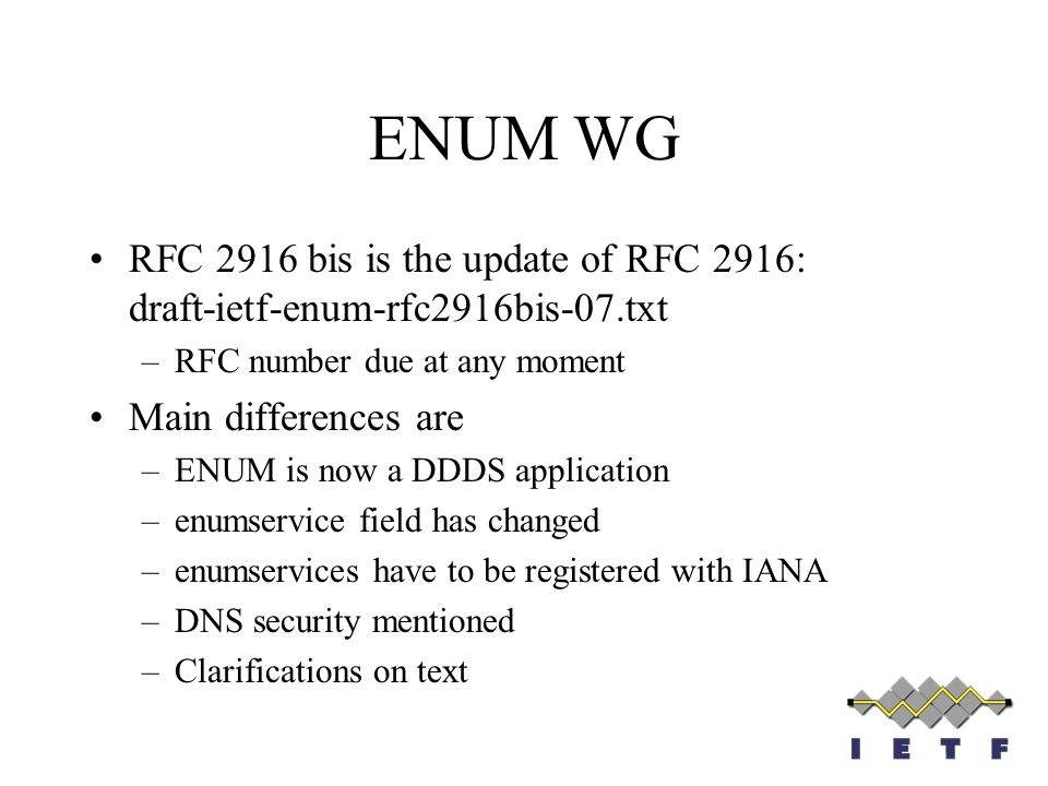 ENUM WG RFC 2916 bis is the update of RFC 2916: draft-ietf-enum-rfc2916bis-07.txt. RFC number due at any moment.