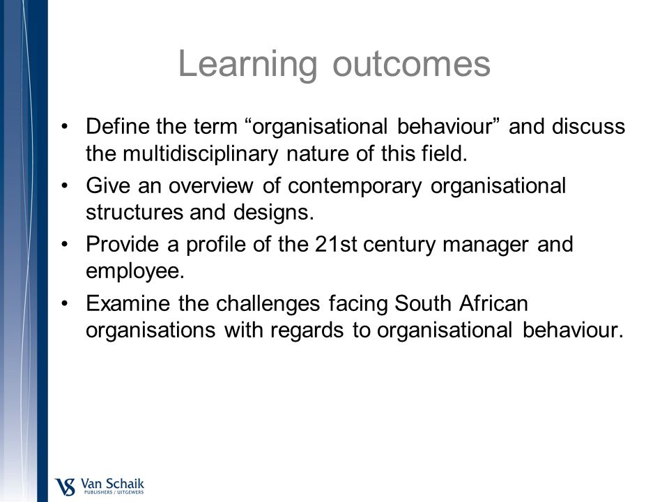 defining organisational behaviour The nature of organisational behaviour the scope for the examination of behaviour in organisations is very wide there are a multiplicity of interrelated factors which influence the behaviour and performance of people as members of a work organisation it is important to recognise the role of management as an integrating activity.
