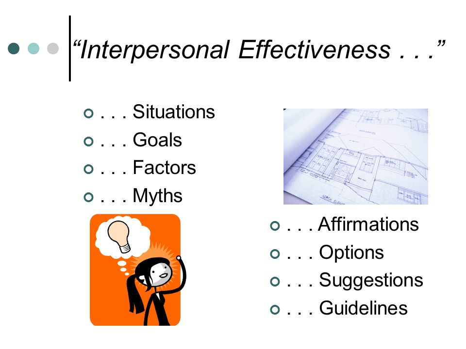 interpersonal effectiveness True or false: saying no to a request is always a selfish thing to do if you answered true, you may be under the influence of an interpersonal myth.