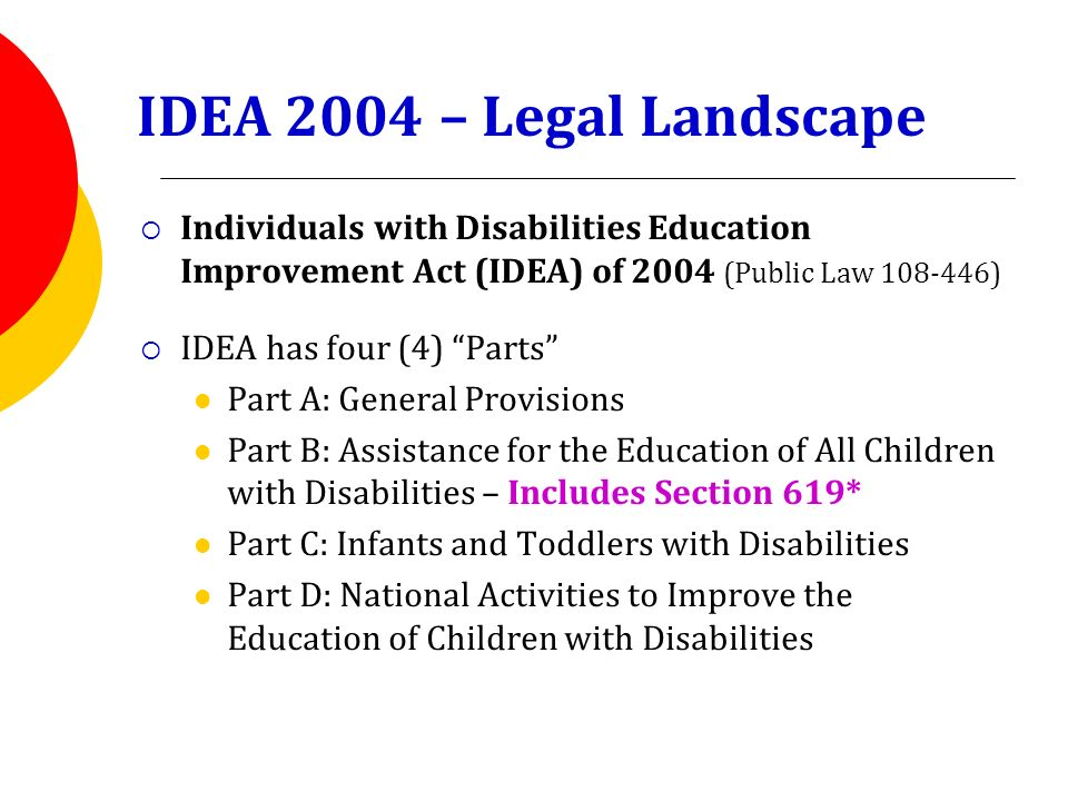 individuals with disabilities education act idea The individuals with disabilities education act, or idea, is america's federal law governing special education it requires public schools to provide disabled students with a free education.