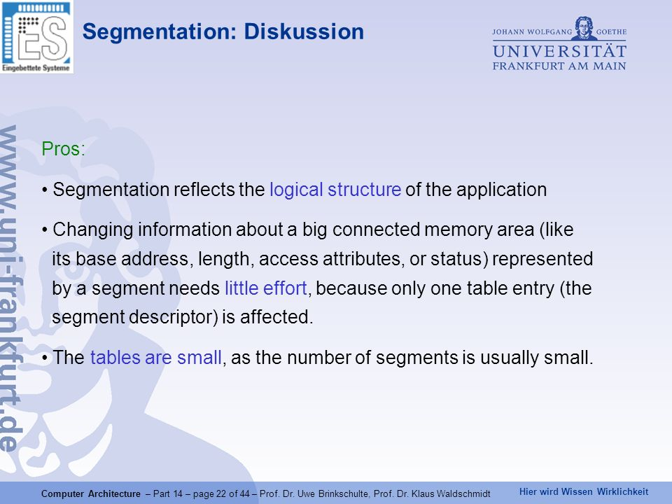 Segmentation: Diskussion