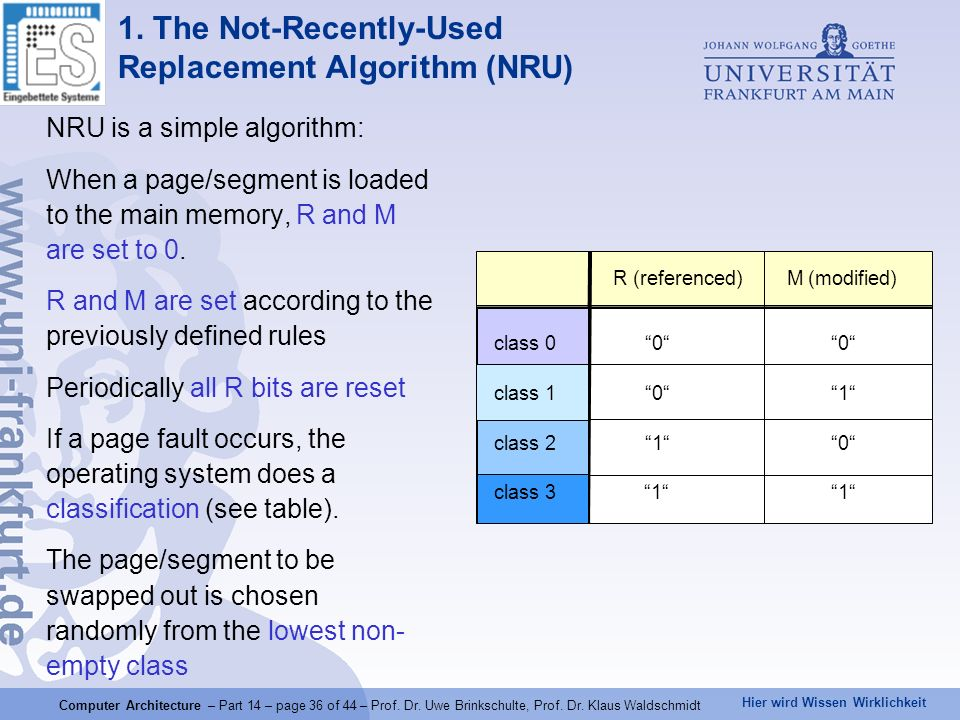 1. The Not-Recently-Used Replacement Algorithm (NRU)