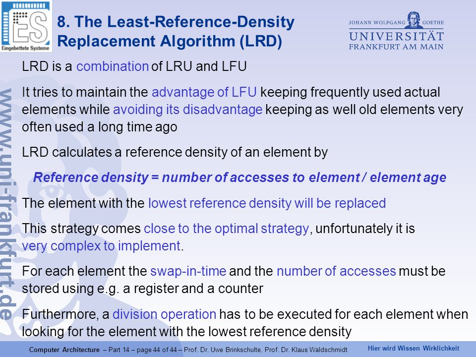 8. The Least-Reference-Density Replacement Algorithm (LRD)