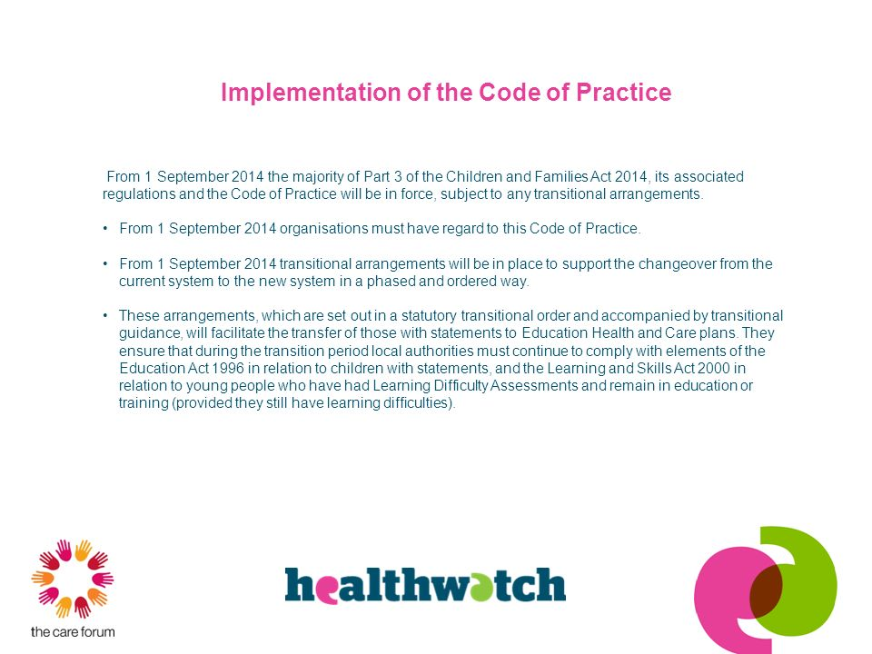 Implementation of the Code of Practice