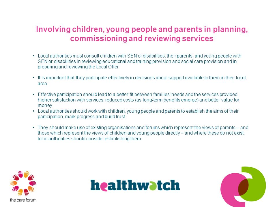 Involving children, young people and parents in planning, commissioning and reviewing services