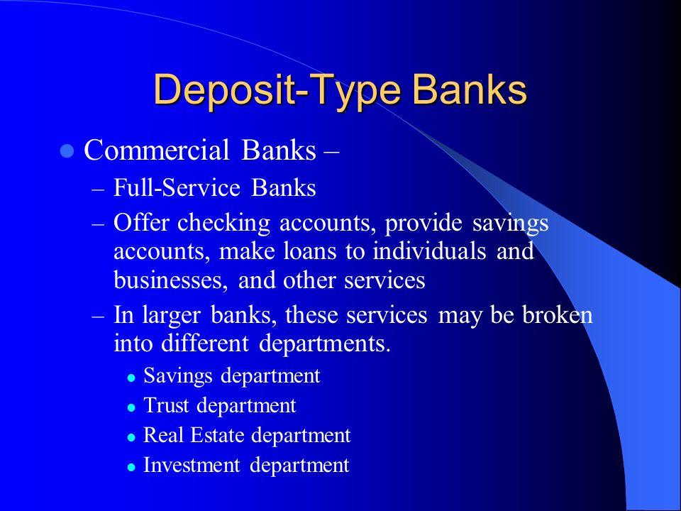 Deposit-Type Banks Commercial Banks – Full-Service Banks