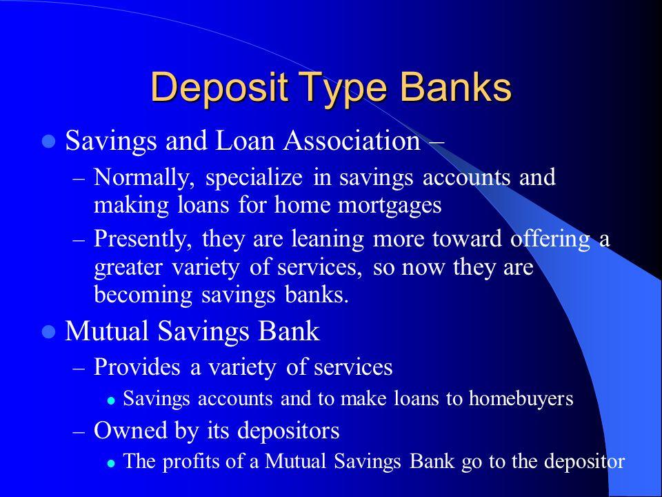 Deposit Type Banks Savings and Loan Association – Mutual Savings Bank