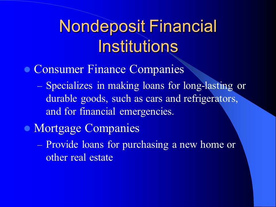 Nondeposit Financial Institutions