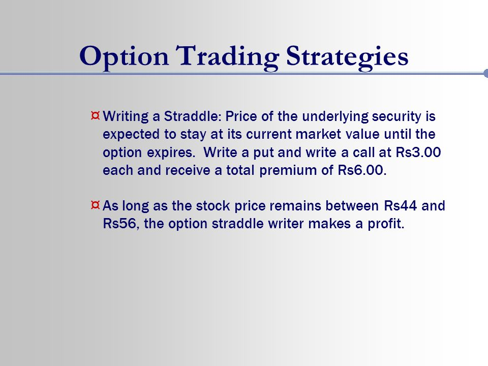 Options trading strategies indian market