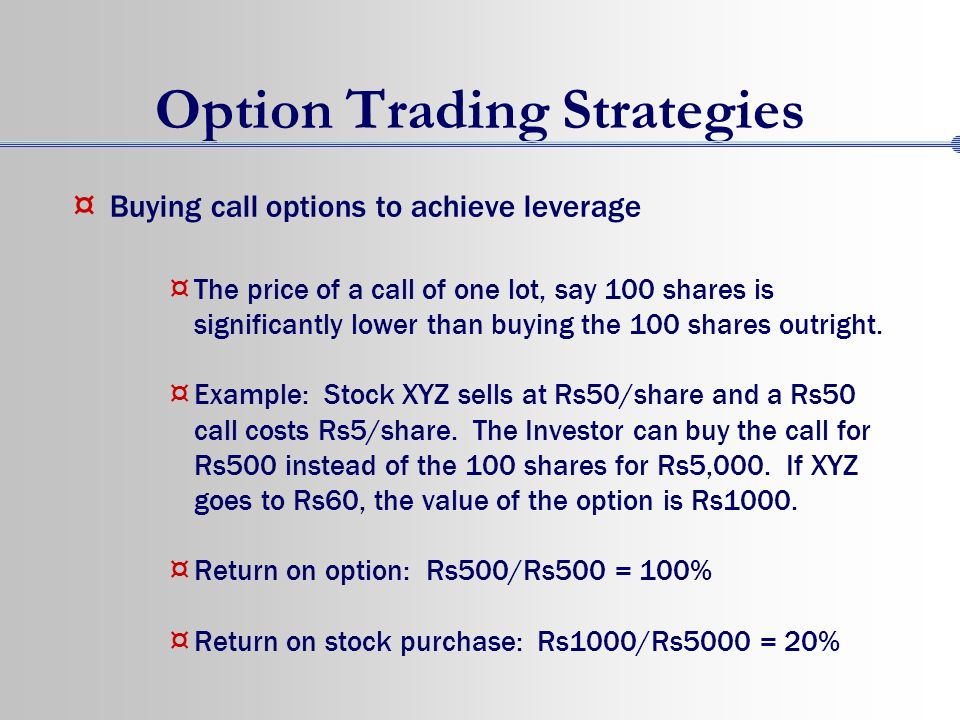 Trading in options with example