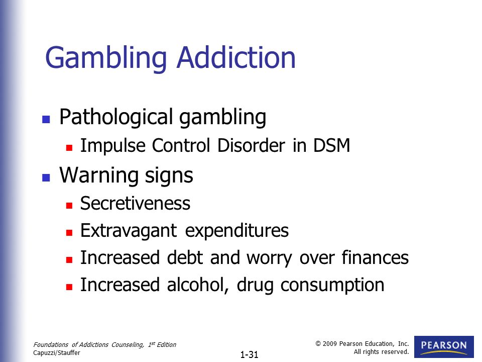 Definition gambling addiction signs