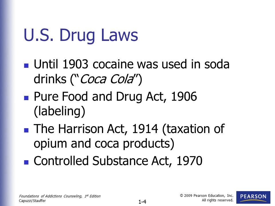 a history of drug use and legislation The first enacted legislation against drug abuse occurred in 1875, when opium dens became outlawed in san francisco the pure food and drug act of 1906, the first national drug law, mandated accurate labeling of patented medicines with opium and other drugs.