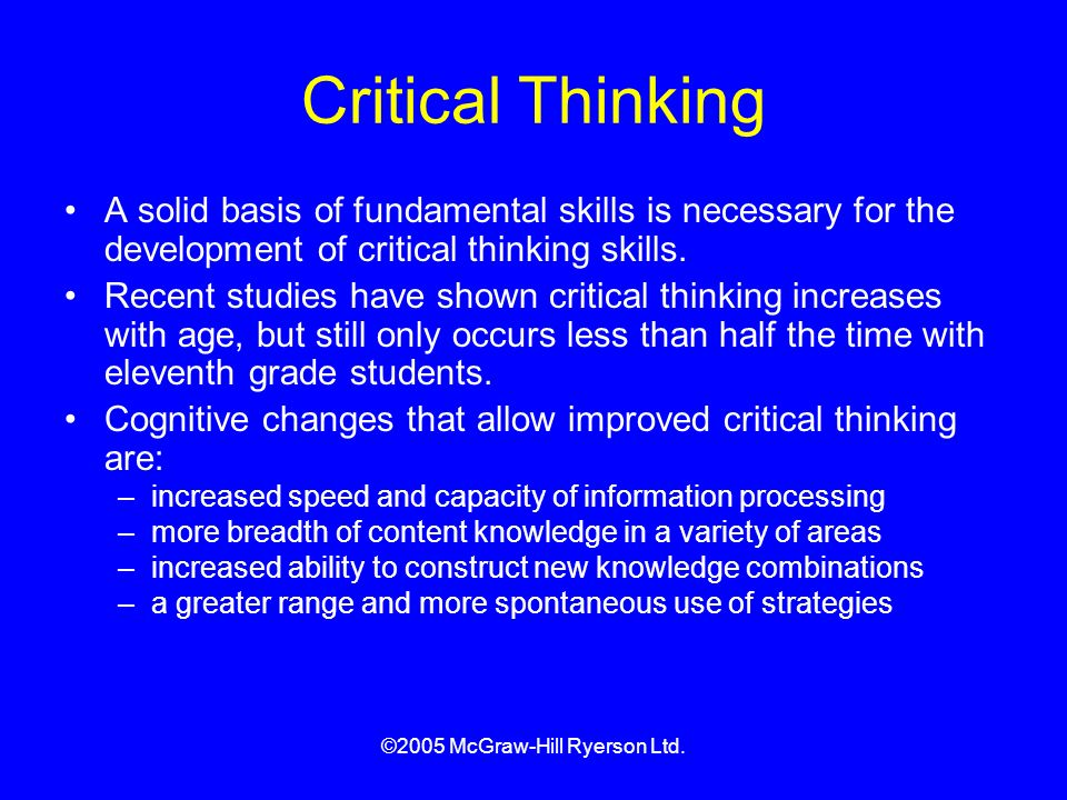 Critical thinking development age