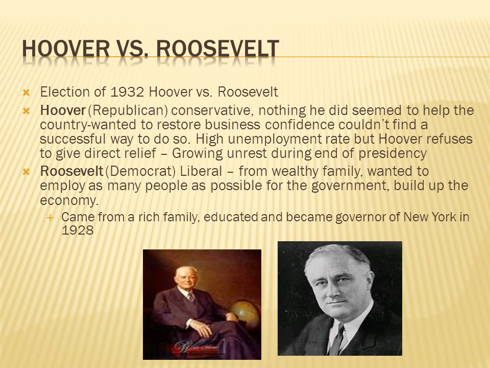 fdr and hoover liberal or conservative The great depression caused hardship for almost everyone in america franklin roosevelt and herbert hoover were two presidents during this era with two very different approaches on how to deal with it roosevelt is generally thought of as a liberal, while hoover is considered a conservative.