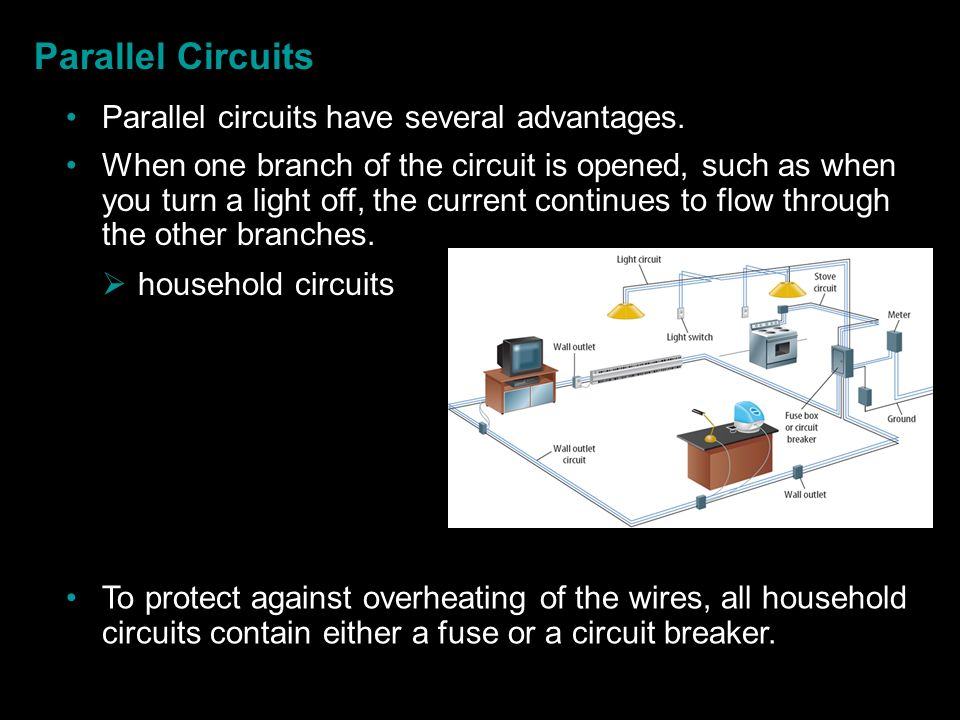 Parallel Circuits Parallel circuits have several advantages.