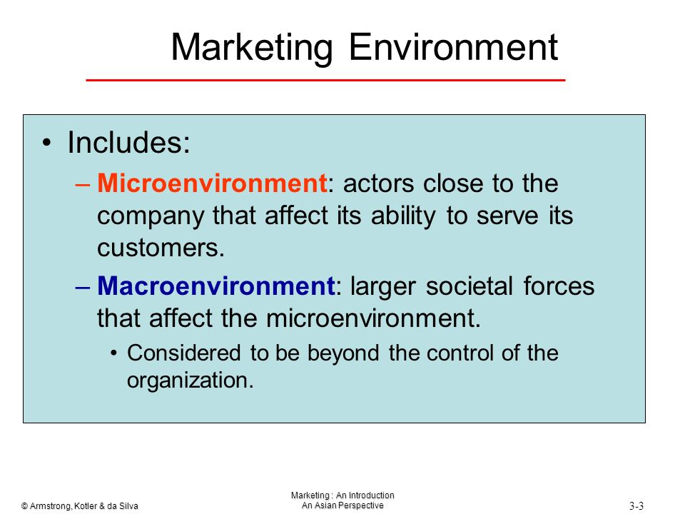 the marketing environment comprises a microenvironment Macro (external) environment – larger societal forces that affect the microenvironment [1] the analysis of the macro marketing environment is to better understand the environment, adapt to the social environment and change, so as to achieve the purpose of enterprise marketing.