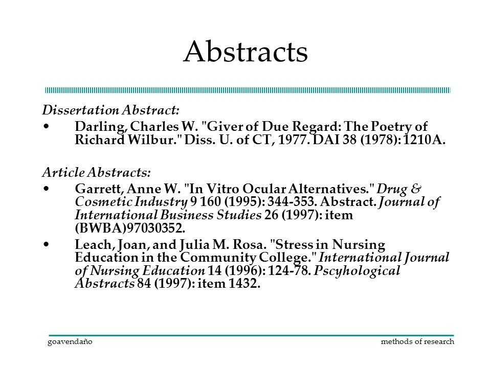 dissertation abstracts diss Other titles: microfilm abstr doct diss microfilm abstracts1938-51 dissertation abstracts1952-june 1969 american doctoral dissertations index to american doctoral.