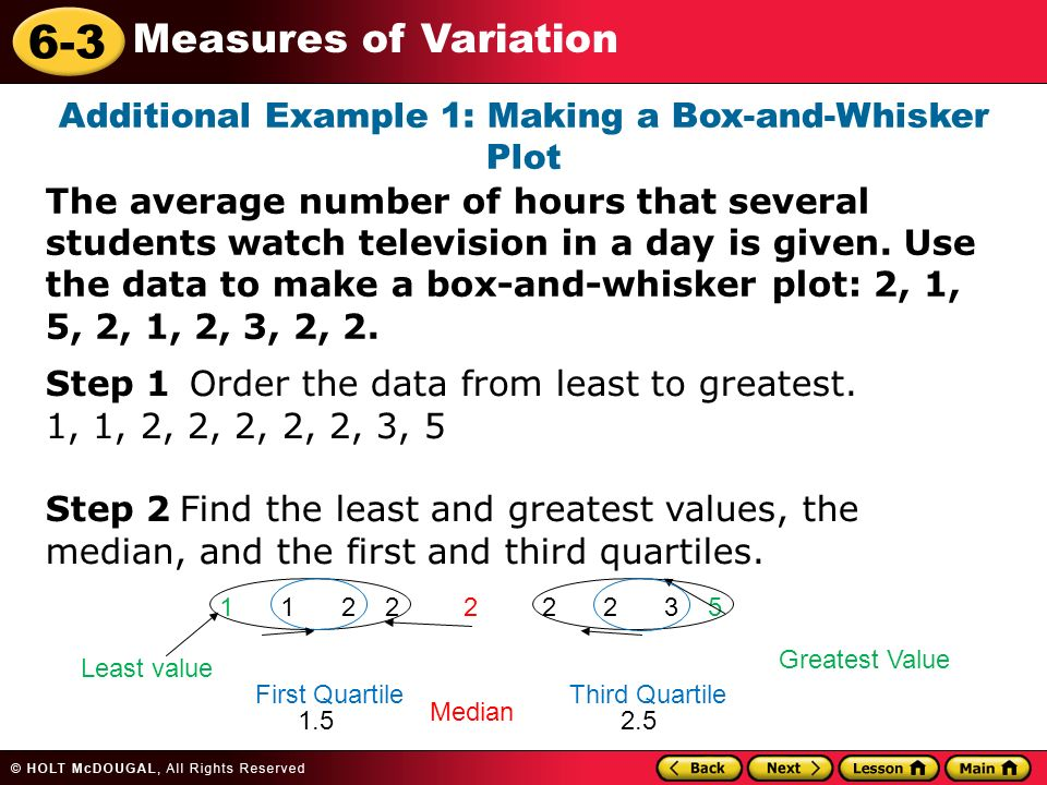 Vocabulary box and whisker plot quartiles variation ppt video additional example 1 making a box and whisker plot ccuart Images