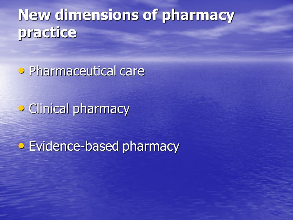 New dimensions of pharmacy practice
