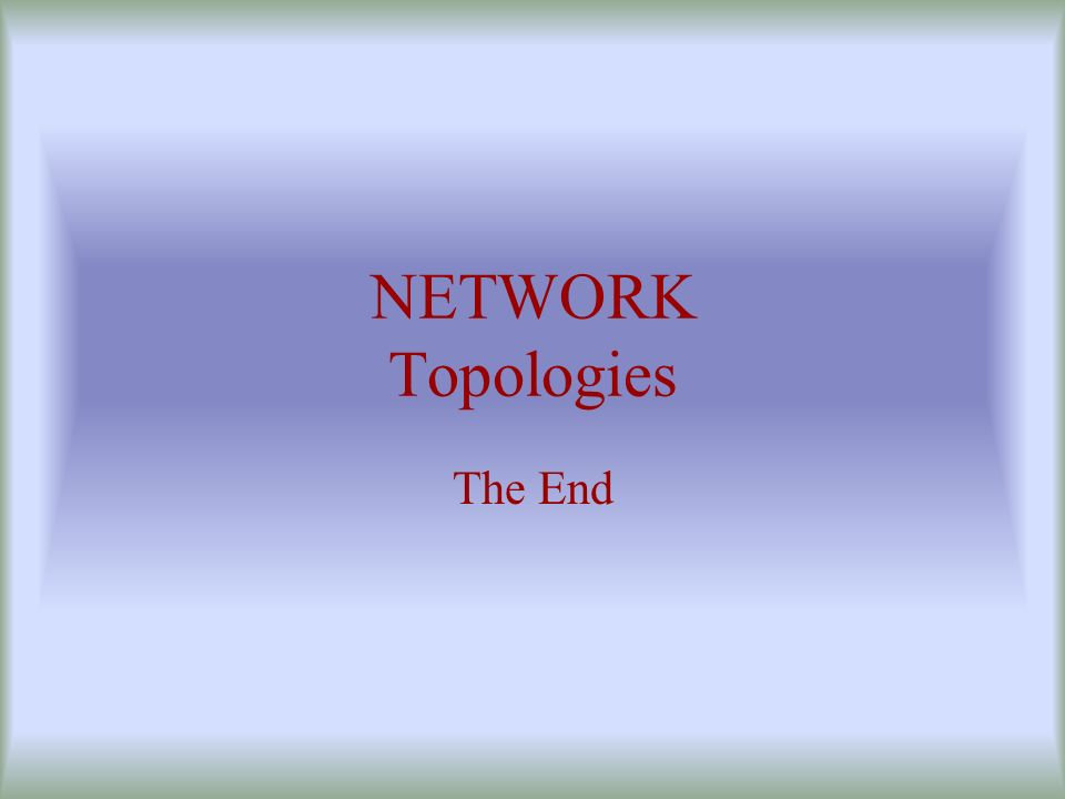 NETWORK Topologies The End