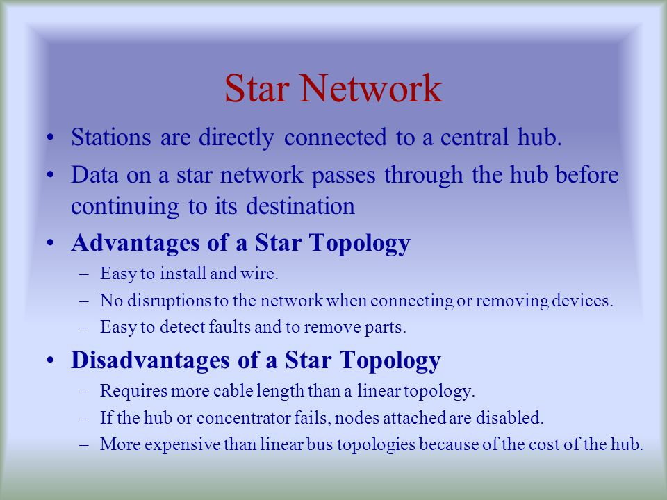 Star Network Stations are directly connected to a central hub.
