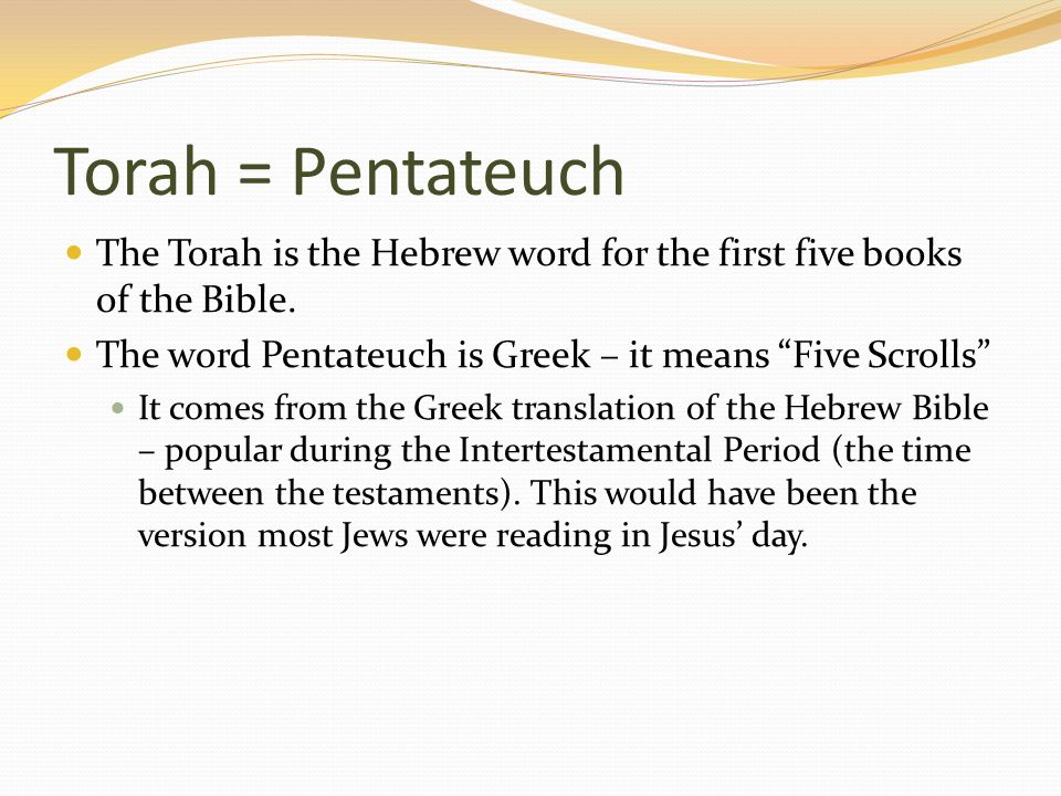 an analysis of the torah the five books of the bible The five books of the pentateuch meditating on the law—the pentateuch the bible is a book that get the latest blog posts from life, hope & truth straight.