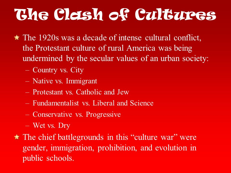 1920s clash of the traditionalists and With the arrival of the 1920's, new battles fought between traditionalist rural society and modernist urban civilization arose in the postwar united states these urban-rural culture wars of this time period represent the everlasting conflict between conservatives and liberals the 1920 census demonstrated to.