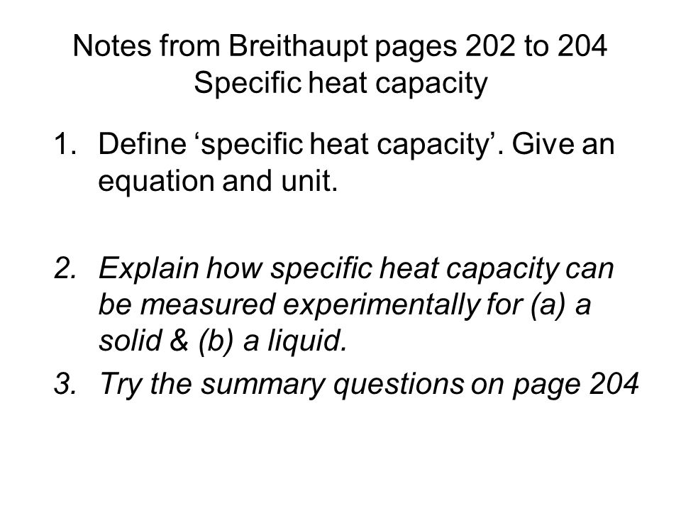 how to get specific heat capacity