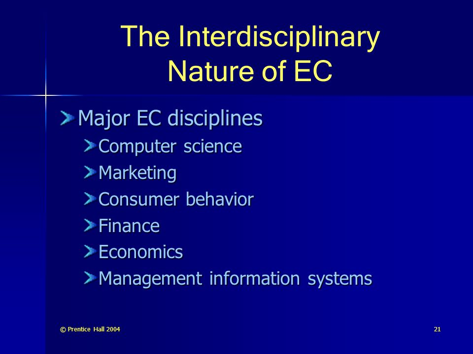The Interdisciplinary Nature of EC