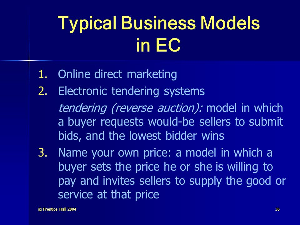 Typical Business Models in EC
