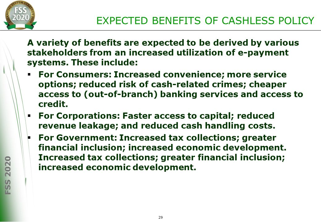 cashless policy The results revealed that cashless economic policy positively impact on banks' profit through reduction in cost of operations and banking the unbanked populace.