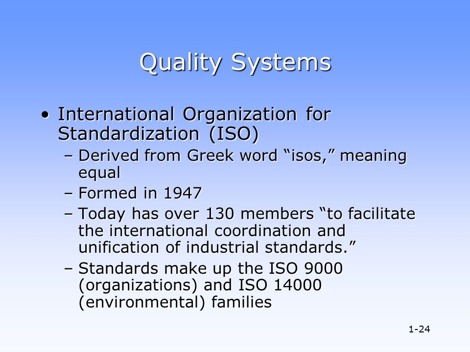 project quality the international organization for standardization Iso, the international organization for standardization, is a nonprofit organization that develops and publishes standards of virtually every possible sort, ranging from standards for information technology to fluid dynamics and nuclear energy.