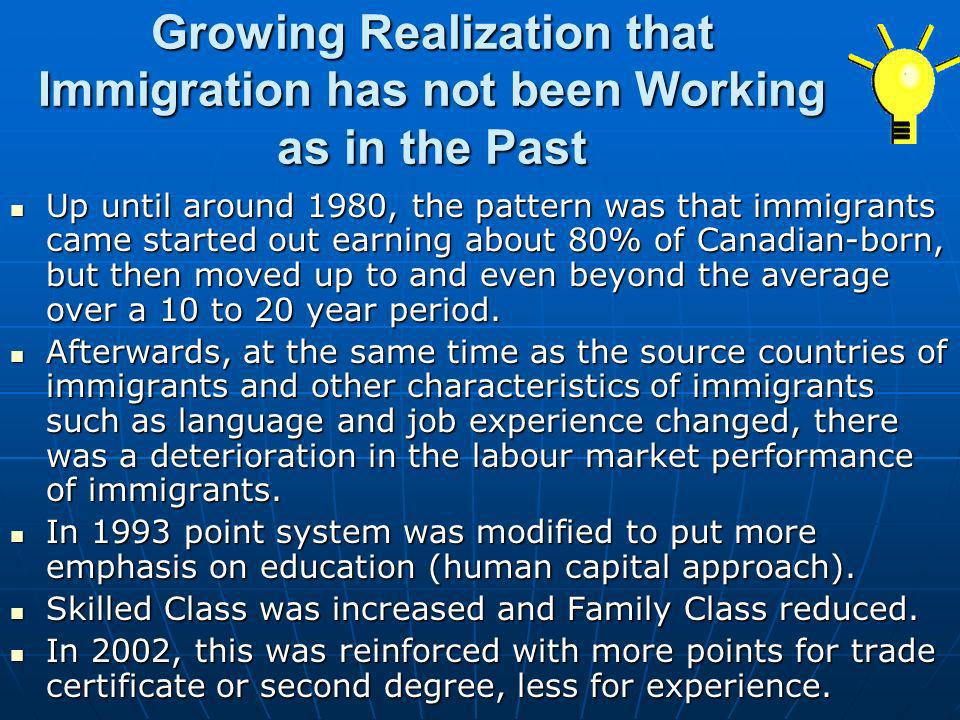 Growing Realization that Immigration has not been Working as in the Past
