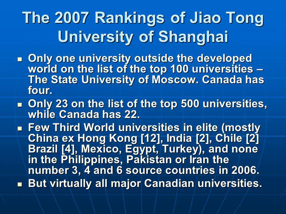 The 2007 Rankings of Jiao Tong University of Shanghai