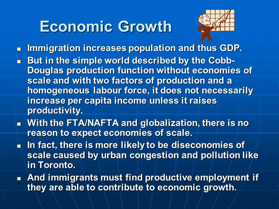 Economic Growth Immigration increases population and thus GDP.
