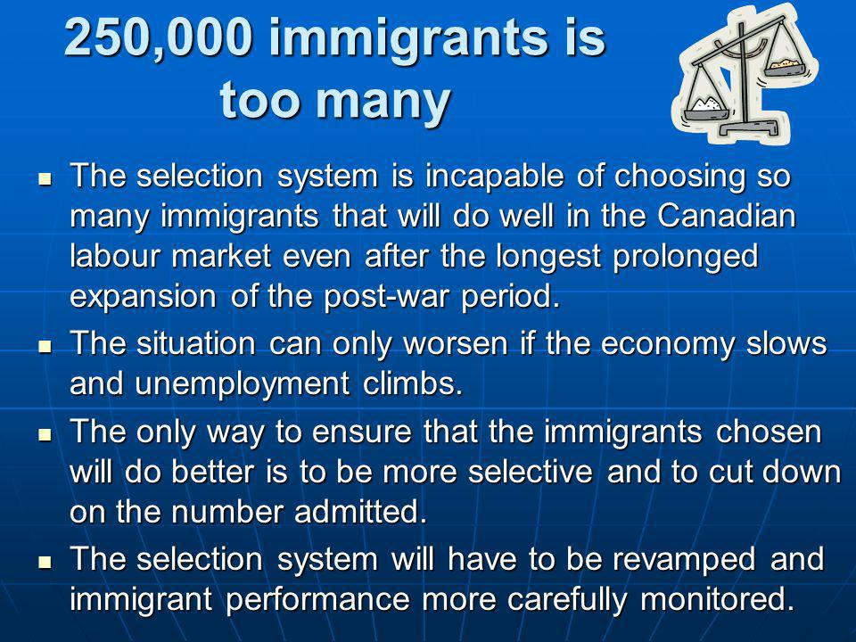 250,000 immigrants is too many