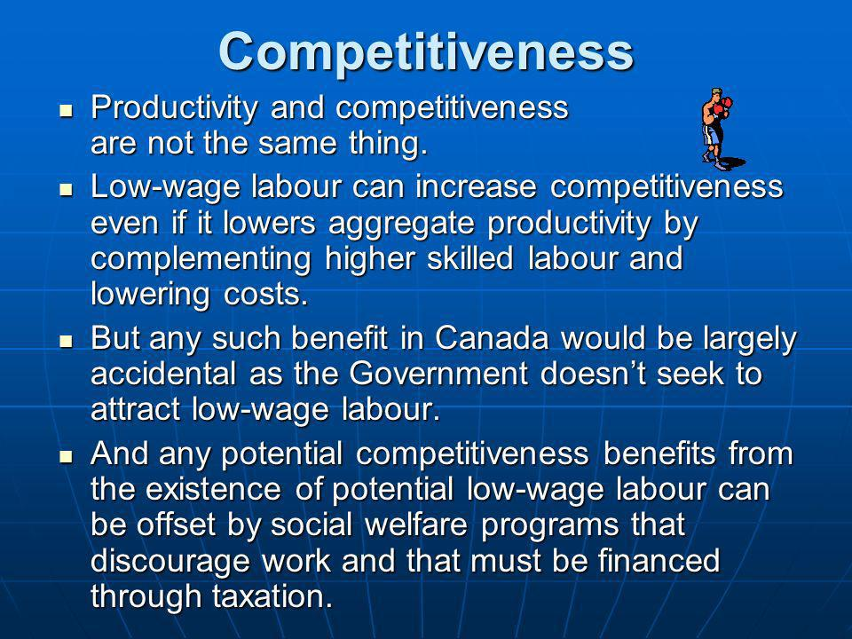 Competitiveness Productivity and competitiveness are not the same thing.