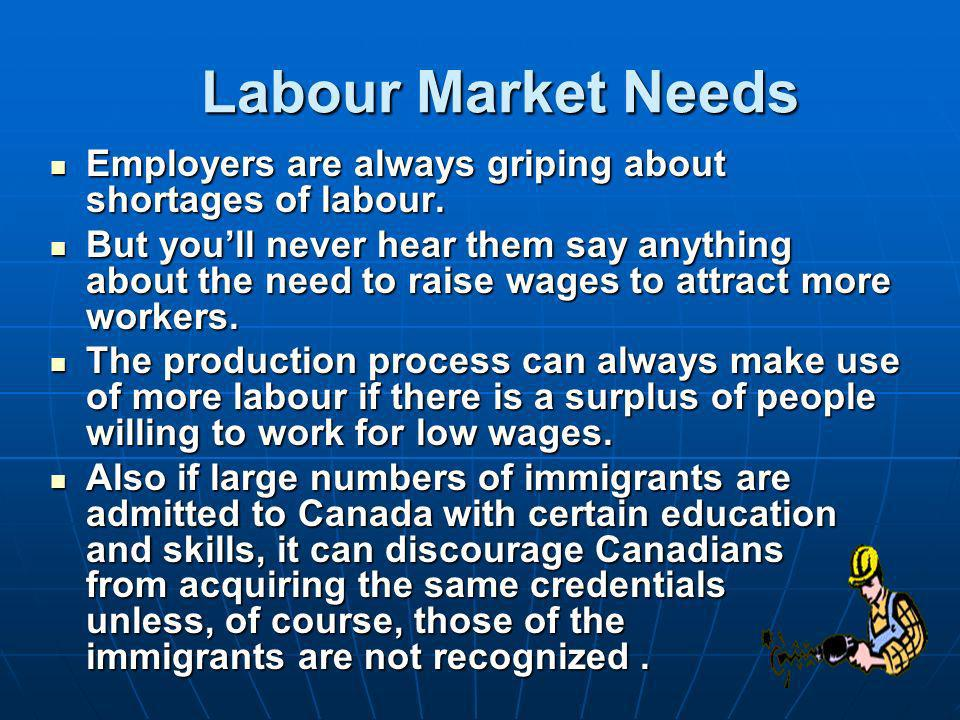 Labour Market Needs Employers are always griping about shortages of labour.