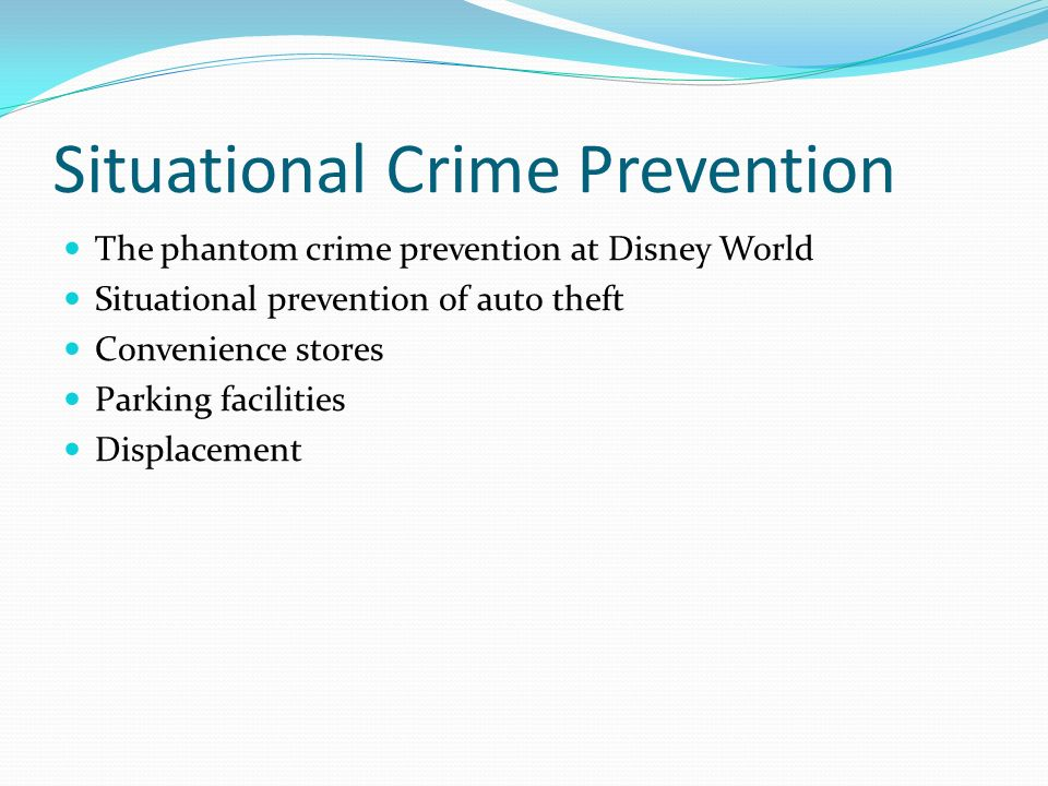 situational crime prevention This article discusses situational crime prevention (scp), which tries to limit the harm that is caused by crime events this is usually done by changing the more immediate causes of crimes and looking into the situational components of crime events the discussion is more concerned with the more theoretical aspects of scp, and does not present.